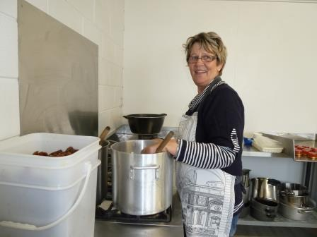 Dawn Stewart in the kitchen making her Church Road products